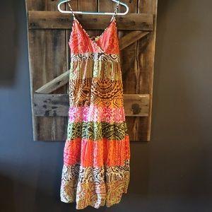 Boho Maxi Dress Adjustable Spaghetti Straps